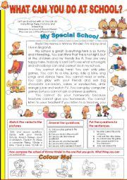 English Worksheet: WHAT CAN YOU DO AT SCHOOL? (2) (starring WINNIE WINDEL)