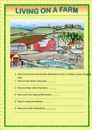 English Worksheet: LIVING ON A FARM