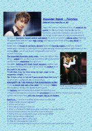 English Worksheet: Eurovision 2009 - Alexander Rybak - Fairy Tale (article+song lyrics)