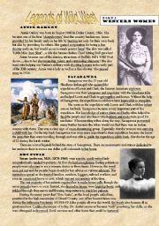 English Worksheet: Legends of Wild West - part 2 - Western Women (reading)