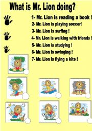 English Worksheets: What is Mr. Lion doing?