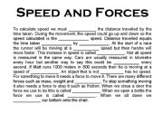 English Worksheets: Speed and Forces