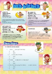 English Worksheet: USED TO - BE/GET USED TO