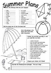 English Worksheet Summer Plans