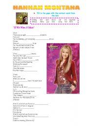 English Worksheets: Hannah Montana.