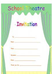 English Worksheet: Invitation to school activity
