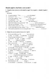 English Worksheet: Should, ought to, had better, need, needn�t