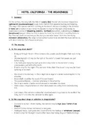 English Worksheet: About Hotel California : different meanings