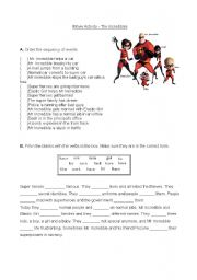 Movie activity - The incredibles
