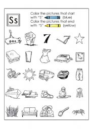 English worksheet: Colour the S words
