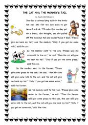 English Worksheets: the cat and the monkey�s tail