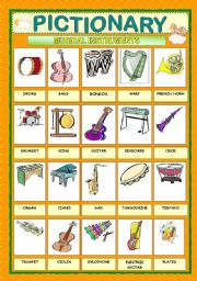 English Worksheet: PICTIONARY - MUSICAL INSTRUMENTS