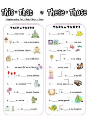 English worksheet: THIS-THESE  / THAT-THOSE