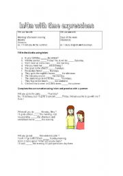 English worksheet: In/On with time expressions
