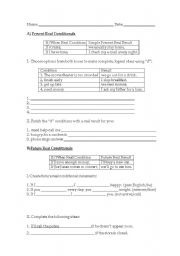 English worksheet: Present and Future Real Conditionals (cond. 0 and 1)
