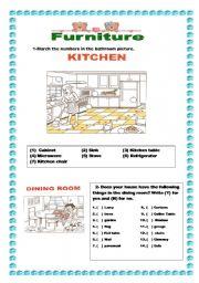 English Worksheet: Furniture - kitchen-dining room