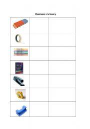 English worksheet: classroom stationary