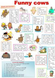 English Worksheets: FUNNY COWS!!! have some fun with lovely creatures...