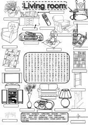 English Worksheet: Wordsearch LIVING ROOM