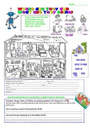English Worksheet: WHERE ARE THEY AND WHAT ARE THEY DOING