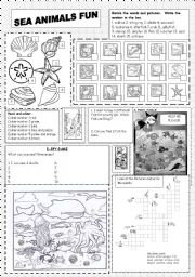 English Worksheets: Sea Animals Fun
