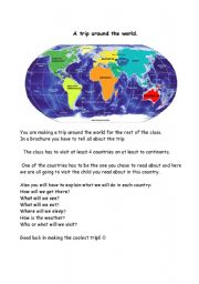 English Worksheets: A trip around the world