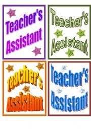 English Worksheets: Teacher�s Assistant badges