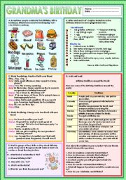 English Worksheets: Grandma�s birthday