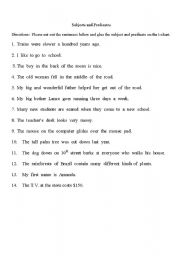 English worksheets: subject and predicate worksheets, page 4