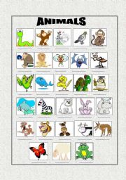 English Worksheets: Matching the Pictures with Animals