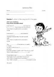 English Worksheets: Louis Armstrong - What a wonderful world - song