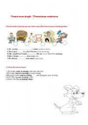 English worksheet: Present simple/present continuous