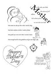 happy mothers day esl worksheet by gauri. Black Bedroom Furniture Sets. Home Design Ideas