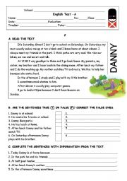 English Worksheet: Danny�s Daily routine - TEST (4pages)
