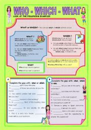 English Worksheet: WHO - WHICH - WHAT