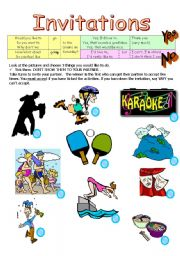 English Worksheets: Invitations - Pairwork