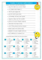 English worksheet: STRUCTURE EXERCISES