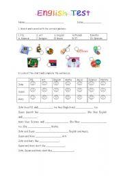 Elementary english test