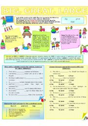 English Worksheet: COLLOCATION 3 - BIG, GREAT, LARGE