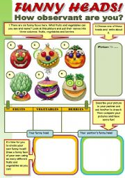 English Worksheet: FUNNY HEADS!  - FRUITS AND VEGETABLES REVISION WITH FUN!