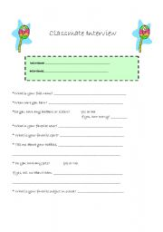English Worksheets: Classmate Interview