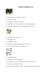 English Worksheet: Multiple intelligences test