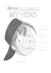 English Worksheets: My Head