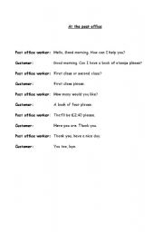 English Worksheet: Role play - At the Post Office
