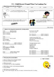 English Worksheets: U2 - I still haven´t found what I am looking for