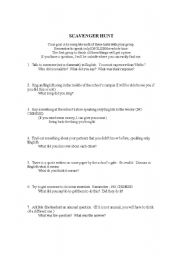 English Worksheet: English Speaking Scavenger Hunt