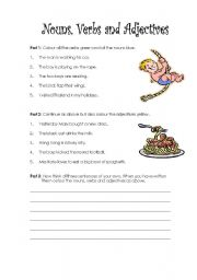English Worksheets: Identify Nouns, Verbs and Adjectives