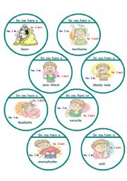 English Worksheet: Sicknesses game cards