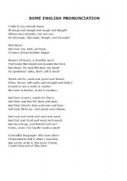 English worksheet: English Pronunciation Poem