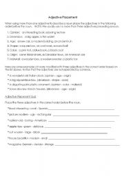 English worksheet: Adjective placement